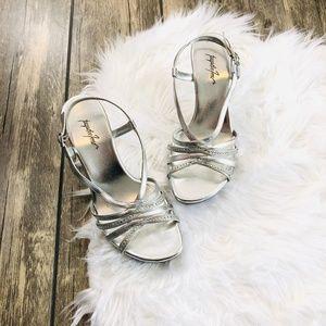 Jacqueline Ferrar   Silver Jewel Strap Heels